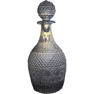 RARE c.1825-35 Sunburst Decanter Diamond Three Mold Original Stopper Boston Sandwich Glass