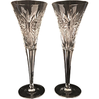 Waterford Champagne Flutes w/BOX Signed Crystal NEVER USED
