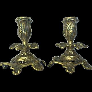 c.1900 Cast Brass Candlesticks Flower Bud Leaf Pattern