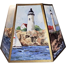 35+ yrs. old Vintage Lamp Shade Nautical Coastal Lighthouse Seashore