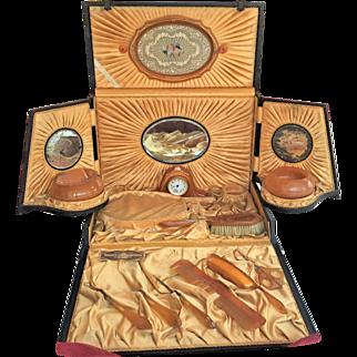Victorian Ladies Travel Vanity Set ORIGINAL CASE 22K gold Pyramid Amber Tone