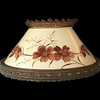 "14"" Victorian  Hanging Lamp Shade  Hand Painted  1880's Kerosene Lamp / Oil Lamp"