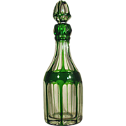Cut Glass  1850-70  Bohemian  Cologne / Perfume  Green Cut to Clear Overlay  OUTSTANDING