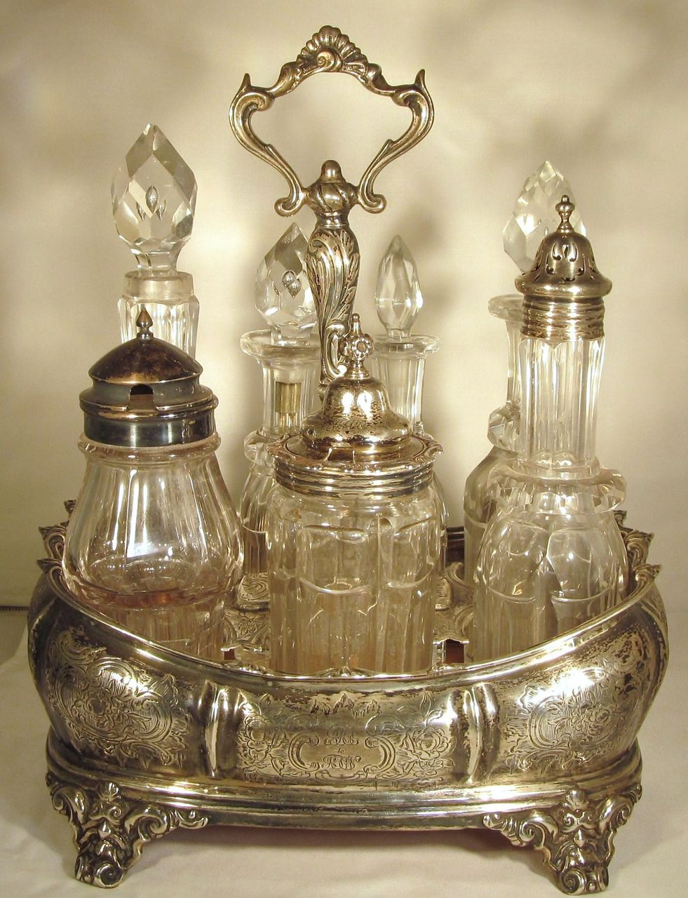 John Emes  1857   STERLING SILVER  Condiment Set  Cut Glass  London
