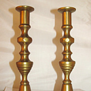 1800's  English  Brass  Candlesticks  INVERTED BEEHIVE