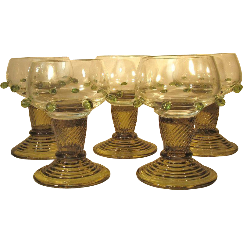 FIVE  Bohemian  Moser   Wine Glass   EXCEPTIONAL  Art Glass