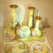 Victorian  Dresser Set  Vanity Set  Porcelain  Hand Painted  Boudoir Set