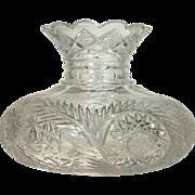 8 lbs. Ohio Glass Co  Cut Glass  Flower Center  Vase  RARE FERN PATTERN