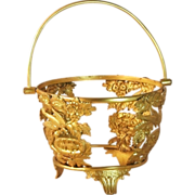 Gilt Bronze Jardiniere or Centerpiece Basket Baccarat French France
