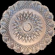 """Hawkes  9"""" Strawberry Diamond Fan  Cut Glass  Plate  Dinner Size"""