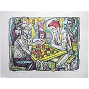 Irving Amen  The Chess Strategy  Print Lithograph Signed  10/300