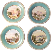 FOUR  Minton Turquoise and Gilt  Scenic Plate  c. 1840   HAND PAINTED