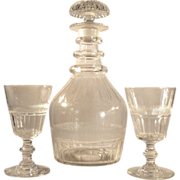 c1790s  3 Ring Decanter & 2 Glasses   Three Ring Decanter