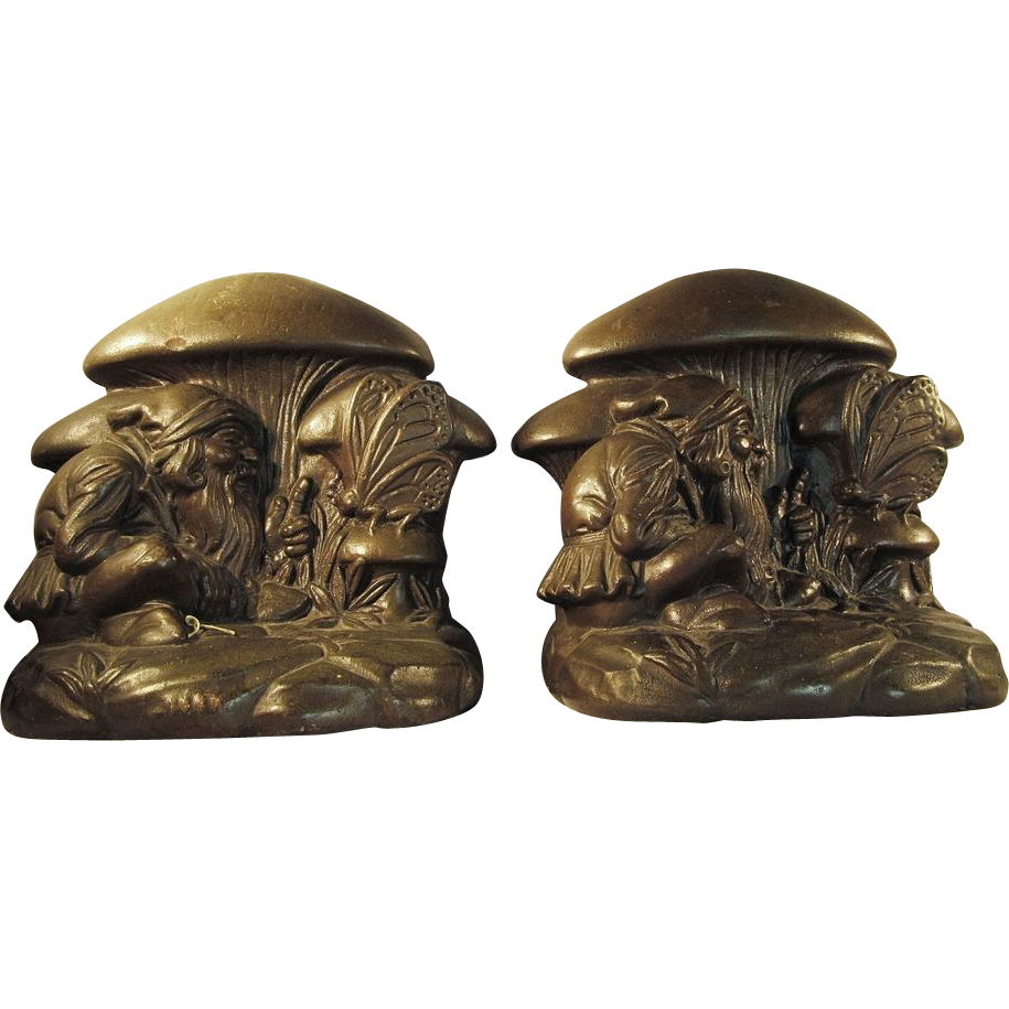 1920 39 s armor bronze bookends doorstop gnome butterfly rare sold on ruby lane - Armor bronze bookends ...