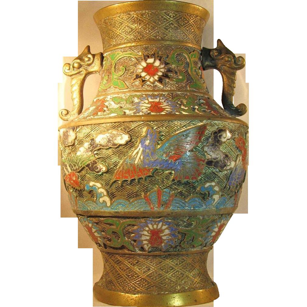 Lg antique japanese champleve bronze brass urn vase double lg antique japanese champleve bronze brass urn vase double handle glass lovers gallery ruby lane reviewsmspy