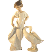 TWO PIECES  Lladro Girl  Lladro Goose  1970's  Retired  NAO Girl  NAO Goose