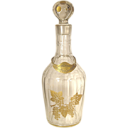 Baccarat Decanter  Gold Gilt  Tag  SIGNED  Cut Glass  Crystal