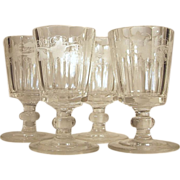 c.1860  Set-4  HUBER Goblet  Wreath Leaves & Grape Pattern  CUT GLASS