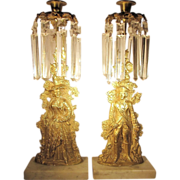 1840's  Brass & Marble Gilt Girandole Pair  Mantle Lustres
