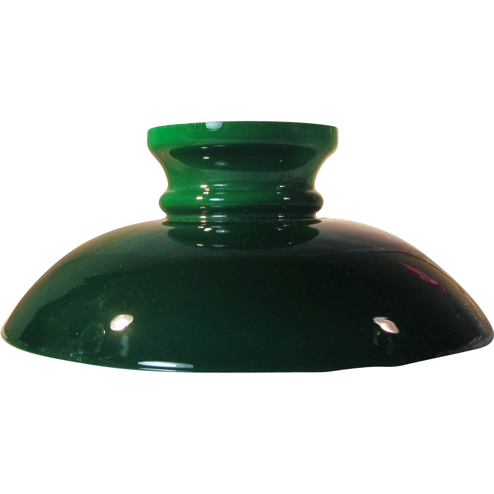 Rare Shape 1870 S Emerald Cased Glass Lamp Shade From