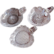 SET-3  c.1870-90 Strawberry Diamond Fan  Nappy  Candy Dish