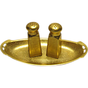 STUNNING Gold Encrusted  Salt Pepper and Tray  c.1900-1914