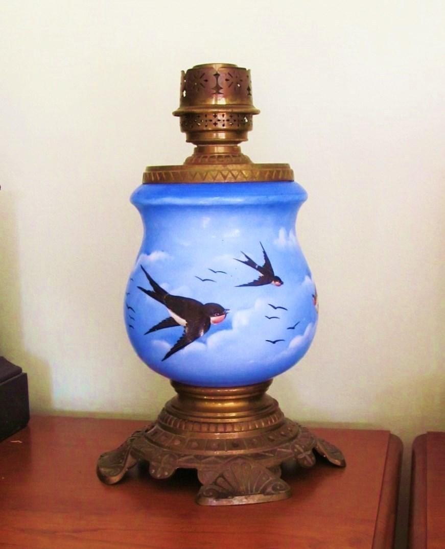 RARE Moser Bohemian Lamp Kerosene / Oil C.1900 Hand