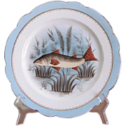 FIVE Limoges Set of Fish Plates 1890's MARKED Hand Painted