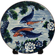 """12"""" Japan Koi Fish Charger Wall Plate Platter Signed c. 1930's"""