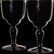 Dark Black Amethyst  Goblet  Wine   PAIR  Hand Blown  Vintage