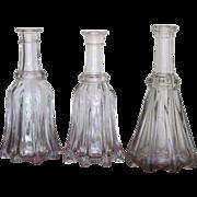 1830's  THREE  Globular Bar Bottle  Flint  Decanter   RARE FIND