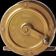"Vintage England 2 3/8""  Brass  Fly Fishing Reel  Crank Wind  c.1880-1914"