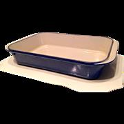 "VINTAGE  Le Creuset 10"" x 14"" Blue Enameled Cast Iron Lasagna Roasting Pan #40"