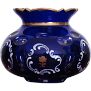 Moser Bohemian Vase Blue Cobalt Cut to Clear  Enameling  Gold  c.19th century