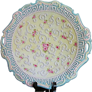 Antique Nippon Moriage Plate Ornate Hand Painted Porcelain Floral EARLY