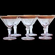 RARE Tiffin SIX Martini Glass  Gold Encrusted
