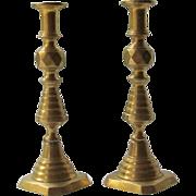 Brass Candlesticks  Inverted Beehive  c.1883  Queen Victoria/Prince Albert
