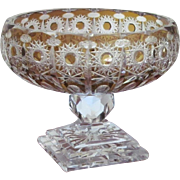 7 lbs. Bohemian Compote Bowl  Crystal  Cut Glass  VINTAGE