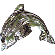 INCREDIBLE  Waterford Dolphin  Leaping  Signed Sculpture Paperweight