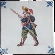 17th c. Delft Dutch Tile Polychrome Delftware