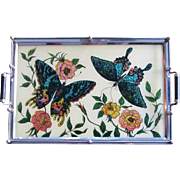1940's Reverse Glass Painting Serving Tray  Cocktail Tray  EXCELLECT COND.