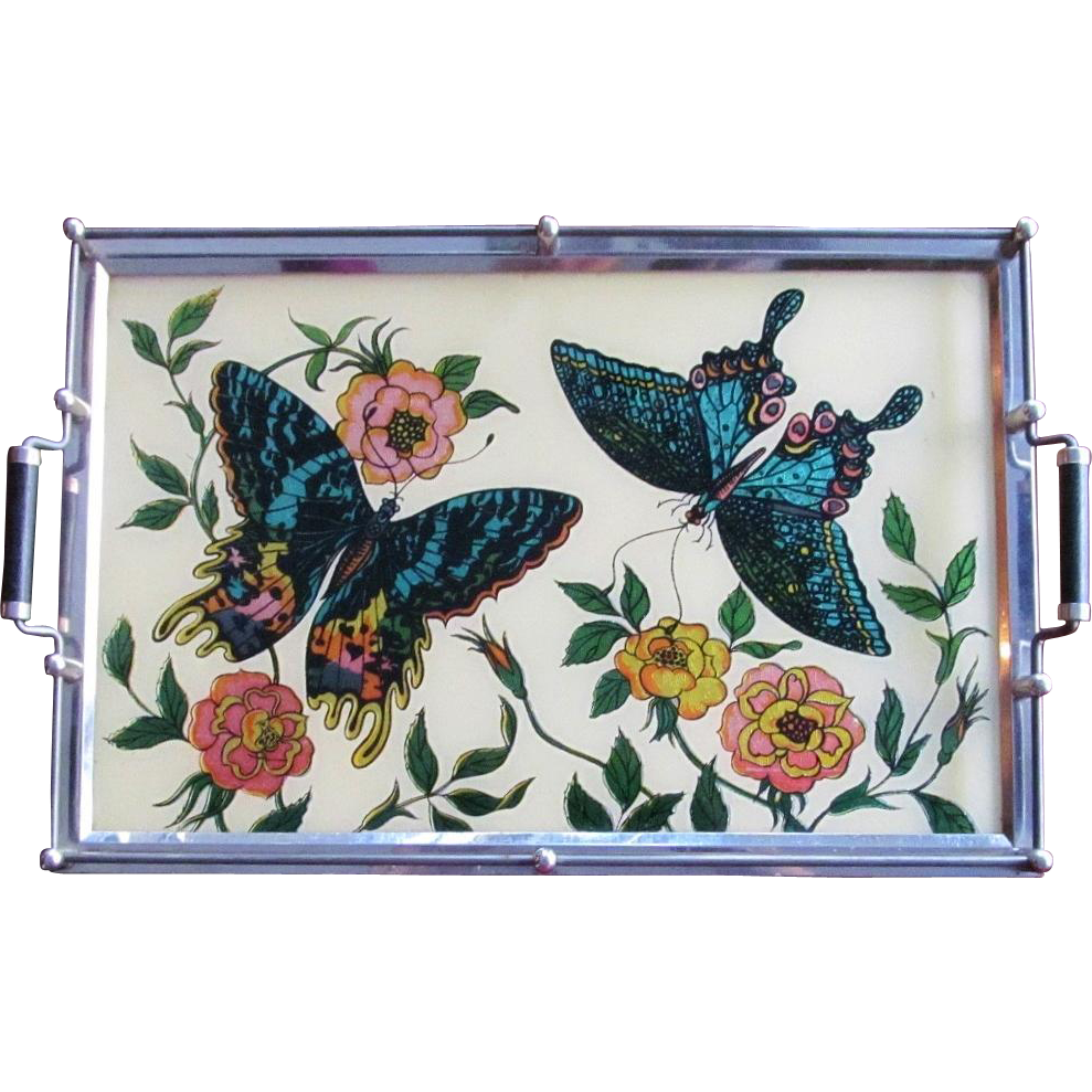 Vintage Peacock Serving Tray Glass Reverse Painted