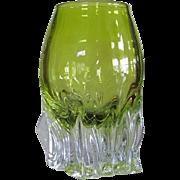 7 lbs. Art Glass Vase Scandinavian SIGNED  Cut Glass  Hand Blown