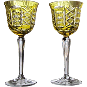 PAIR Vintage Bohemian Wine Glass  Light Amber Cut to Clear