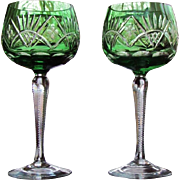 PAIR Vintage Bohemian Wine Glass Green Cut to Clear