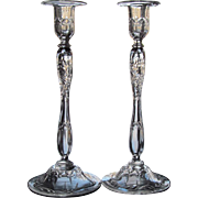 MUSEUM QUALITY c.1910 Candlestick Engraved Hand Blown Candlesticks