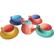 Lindt Stymeist SET Tea Pot  Cup and Saucer c.1980 Colorways