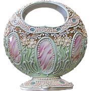 19thc Nippon Porcelain MORIAGE Moon Basket w/Pink Marble CARTOUCHES