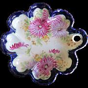 """Pre-1891  Moriage Centerpiece Console Bowl Porcelain Chrysanthemum LARGE 11"""""""