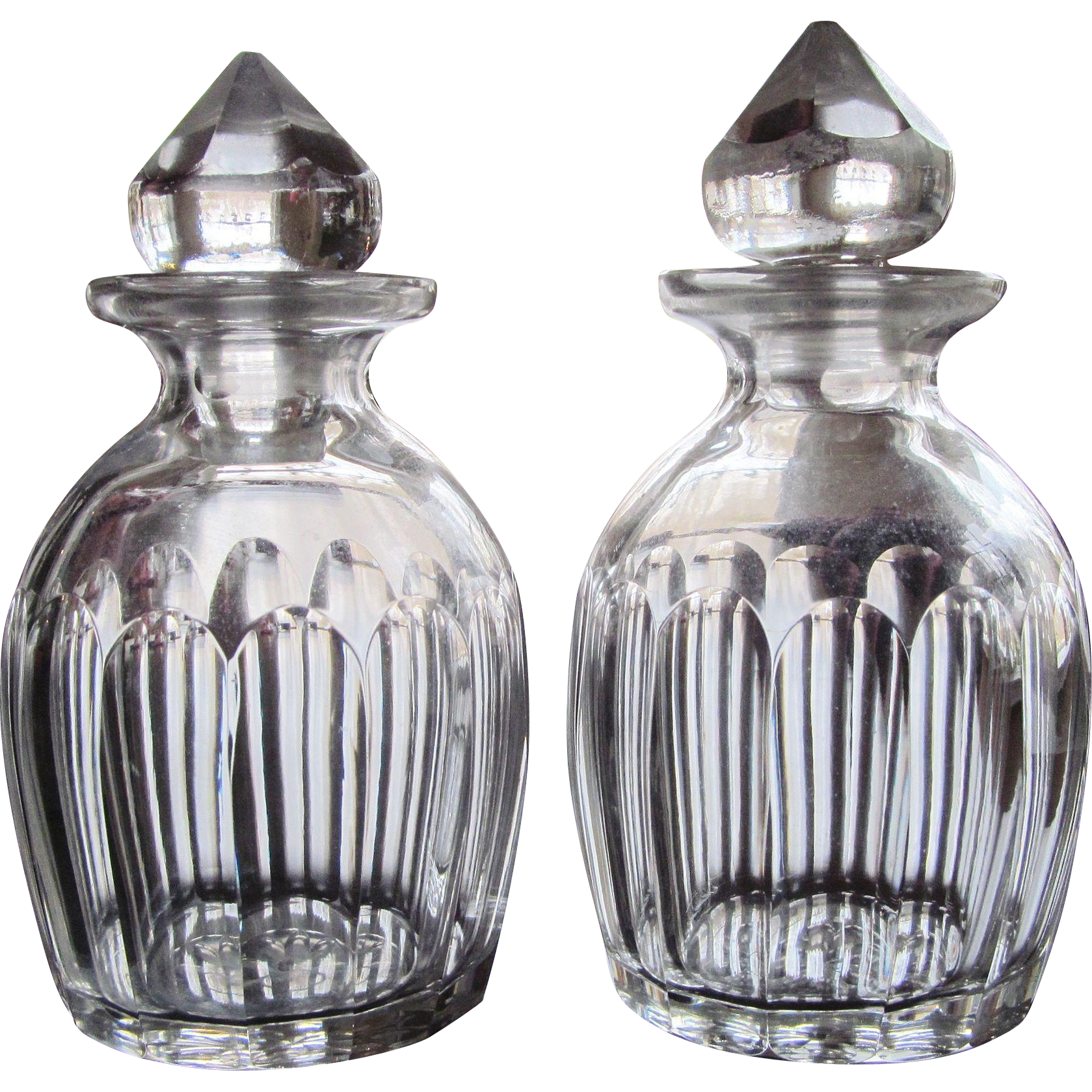 Pair early cut glass cologne bottles from for How do i cut glass bottles